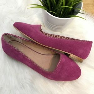 LANDS' END Vanessa Venetian Fuchsia Suede Loafers